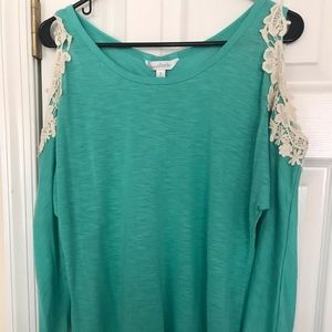 Long , shoulder cut out shirt! Worn once!